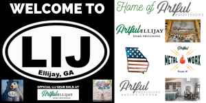 Artful Provisions welcome to LIJ web banner featuring Jay the Bear with his LIJ sticker on, the what lifts you mural and the Artful Provisions family of small businesses logos: Artful Ellijay, Artful MetalWorx and Artful Provisions Design Center
